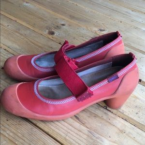 Camper red leather orange rubber heel Mary name 40